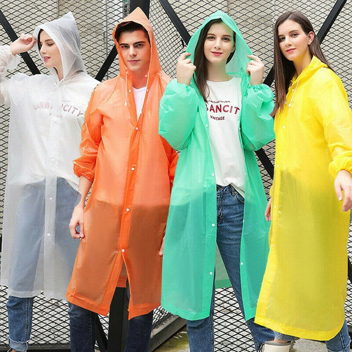 Fashion EVA Women Raincoat Waterproof Rain Coat Women Clear Transparent Camping Waterproof Hooded Poncho Rainwear Suit Unisex
