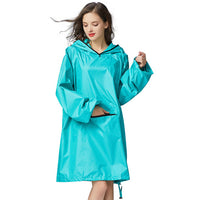 Yuding Woman Raincoat Polyester Outdoors Thick Rain Poncho Hooded Impermeable Rainwear Rain Coat for Women with Front Pockets