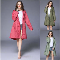 10 Colors Waterproof Women Raincoat Hooded Long Rain Jacket Breathable Rain Coat Poncho Outdoor Rainwear Lady Raincoat Dress