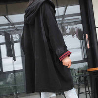 Large size Bat type Denim Trench Coat Women Hooded Outerwear Thicken Loose Bat sleeve Windbreaker Female BF Jeans Trench G328
