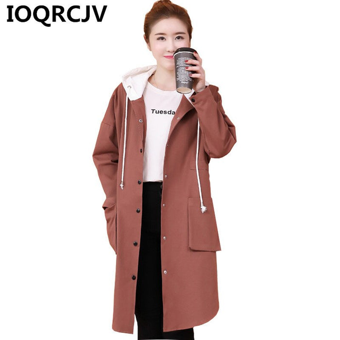 2019 Spring Autumn Long Trench Coat Women Casual Single-breasted Thin Windbreaker Female Loose Hooded Overcoat Outerwear L301