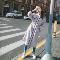 2018 Spring Autumn Long Trench Coat Women Plus Size Outerwear Coats Latern Sleeve Back Split Windbreaker  Female Overcoat XH313