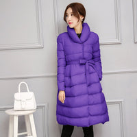 Ladies Parka Stand-up Collar Skirt Hem Outwear Knee-length Quilted Puffer Outwear