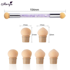 Monja Double End Nail Art Gel Polish Color Gradient Brush + 6 Sponge Head Transfer Stamping Blooming Pen Manicure Tools