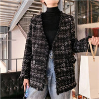Fashion wool Duffle Coat 2019 new Casual loose plus size cape coat Thick Double-breasted jacket Elegant vintage Checked jacket