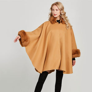 Elegant Women Autumn Cloak Faux Fox Fur Collar Coat M-XL Plus Size Lady Cape and Poncho Casual One Button Loose Cardigan Coats