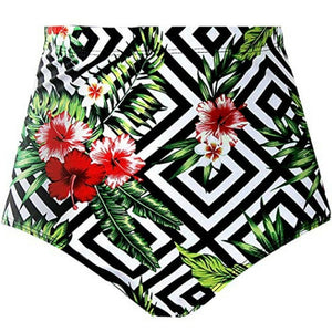 New Summer Women High Waisted Bikini Swim Shorts Bottom Fashion Floral Printed Female Swimsuit Swimwear Bathing Panty Briefs