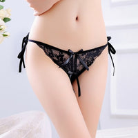 Sexy Lace Thong T Transparent Low Waist Pants Women's Underwear Large Size Sexy Lace Ribbon Panties