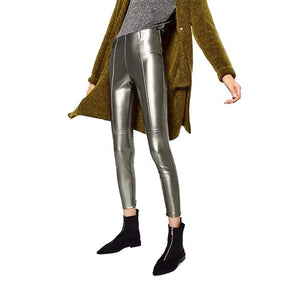 Autumn Women PU Leather Pants Glitter Fashion Party Nightclub Wear Trousers Sexy Pencil Pants