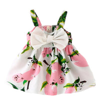 Summer Newborn  Clothing Toddler Baby Girls Lemon Floral Bow Casual Party Dresses Sundress