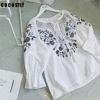 women tops boho style blouse cotton embroidered vintage lady white shirt flare sleeve