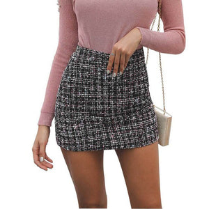 Korean Women Plaid Mini Bodycon Skirt Vintage Sexy Straight Plaid High Waist Skirt Slim Fit Temperament Harajuku 2019 New Spring