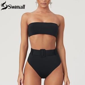 New Buckle Bikini Set 2020 High Waist Swimsuit Women Bandeau Swimwear