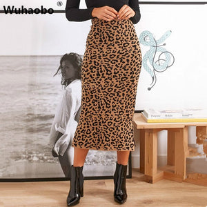 Wuhaobo Leopard High Waist Midi Skirt Women Autumn Winter Club Party Bodycon Sexy Pencil Skirts