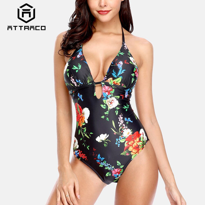 Attraco Womens Swimwear 2019 Monokini V-Neck One Piece Floral Print Bathing Suit Deep Plunge Padded Sexy Swimsuit Beachwear