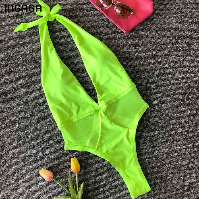 INGAGA New Plunging Halter One Piece Swimsuit Sexy Mesh Swimwear Female Solid Bathing Suit Women Backless Beach Wear 2019