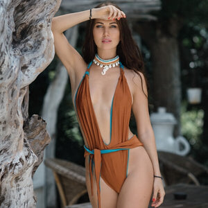 Deep V Neck Bather 2019 One Piece Swimsuit Vintage Style Women's Sexy 1 Piece High Leg Cut Halter Swimwear Plunge Bathing Suit