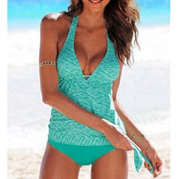 Women plus size tankini sets print swimsuit halter swimwear woman Bandage Monokini vintage Bathing Suits 2019 swimsuit tank tops