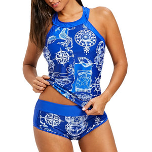 Printed Bikini with Mesh Tank Top Swimsuit Bikini Set Padded Push Up Female Mesh Sheer Print Tankini Set