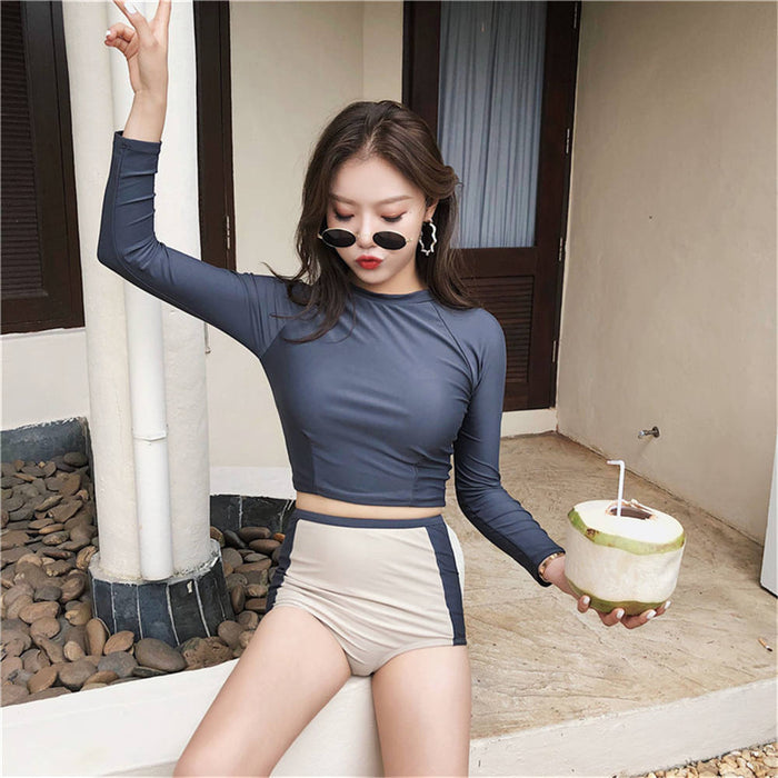 Two Piece Rash Guard Women Long Sleeve Tankini Solid Swimsuit UV