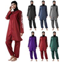 3PCS Full Cover Muslim Printed Swimwear Women Modesty Burkini Swimsuit