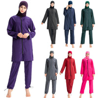 3PCS Modest Muslim Swimwear Full Cover Burkini Plain Swimsuit Islamic
