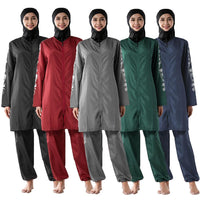3PCS Muslim Printed Swimwear Women Modesty Burkini Islamic Swimsuit