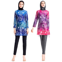 3PCS Muslim Floral Print Swimsuit Burkini Modest Swimsuit Full Cover