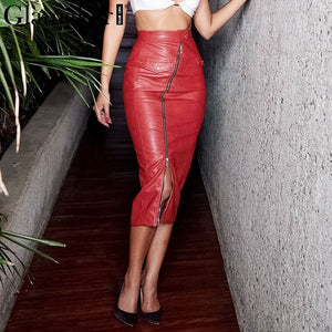 Glamaker Sexy bodycon red leather skirt Women autumn split high waist skirt Female zipper elegnt club party bottom skirt winter