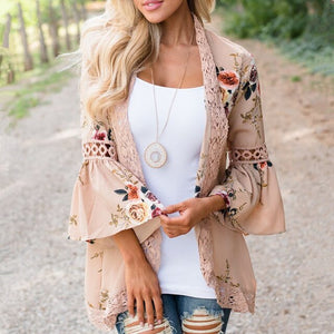 Boho Women Jacket Lace Flare Long Sleeve Slim Casual Open Stitch Tops Fashion