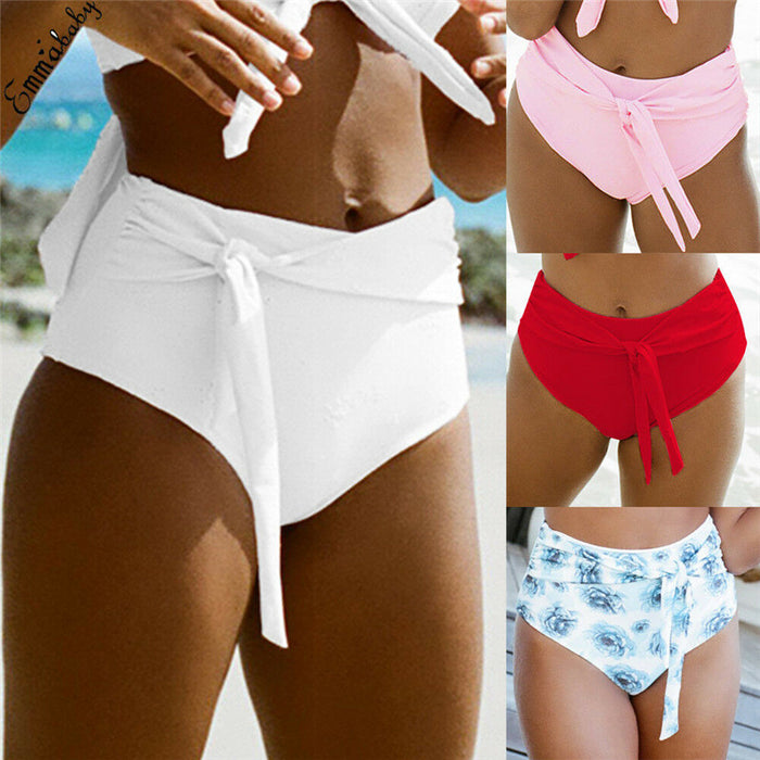 Women Plus Size XL Bikini Bottoms Bikini Bowknot Shorts Sporty Panty High Waist Swimwear Bathing Suit Beach Swim Bandage Briefs