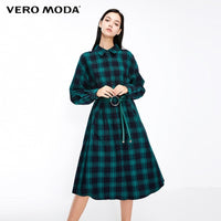 Vero Moda 2019 New Women's Street Style Letter Print Plaid Turn-down Collar Shirt Dress | 3184SZ511