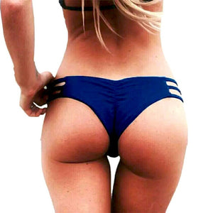 Sexy Women's Bikini Thongs Soild Color Hollow Out New Sexy Swimwear High Waisted Summer Ladies Swimming Bottom Beach Hot Selling