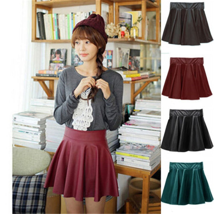 Women Casual Faux Leather Skater Pleated Skirt Summer sexy Solid Slim Mini skirt Party Shorts Skirt 4 colors