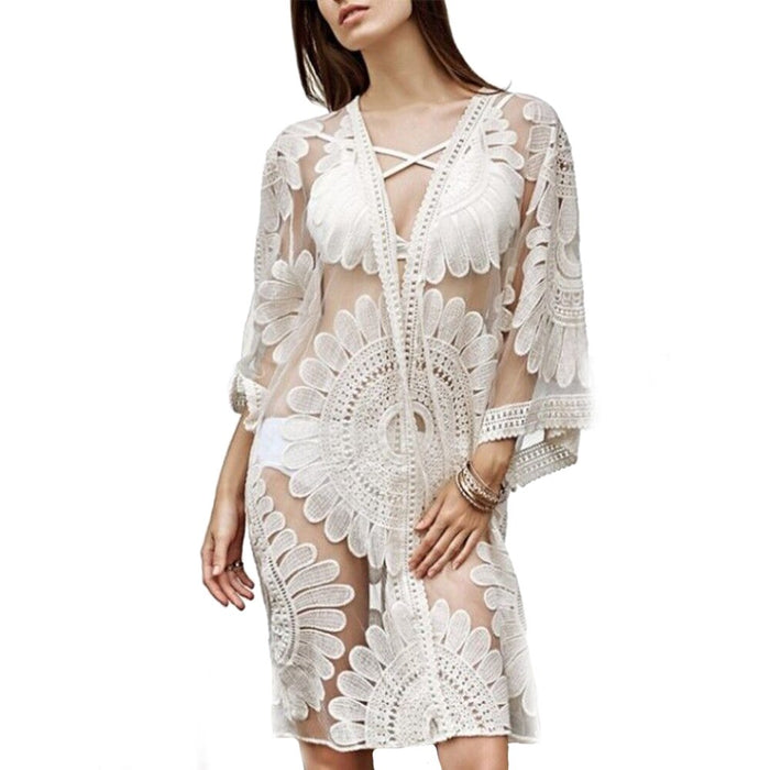 New Women's Summer Beach Lace Hollow Crochet Swimming Bikinit Cover Up 3/4 Sleeve Female Sun Protection Blouse Sexy Tops
