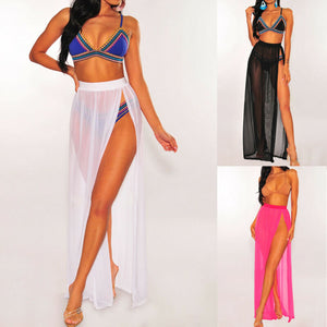 New Style Women Cover-Ups Beach Bikini Cover up Solid Swimming Wear Wrap High Waist Long See Through Split Bathing Fashion 2019