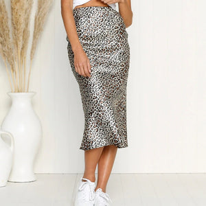 Women Leopard Print Skirts High Waist Bodycon Slim Fit Midi Skirts for Summer  TY53