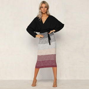 Brand New Vintage Stretch High Waist Skirt Women Multicolor Striped Long Straight Slim Fit Skirt Bodycon Pencil Skirts
