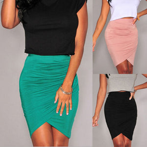 2019 Hot Sexy Women's Slim Fitted Knee Length Straight Pencil Skirt High Waist Career Skirts