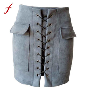 New Women Bandage Suede Fabric Short Mini Skirt Slim Fit Skirts Womens Ladies Seamless Stretch Tight Short Skirt   Saias