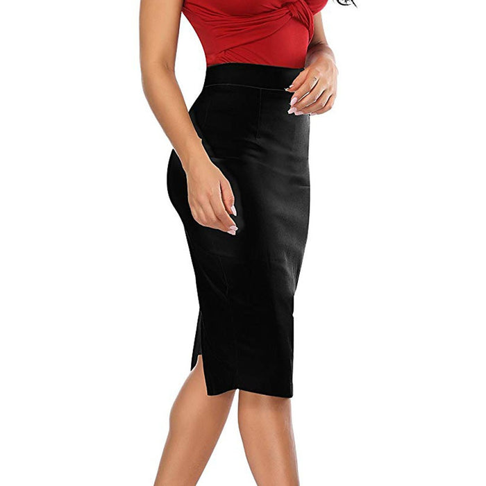 High Waist Pencil Skirt Women Summer Knee Length Zipper Back Split Solid Skirts