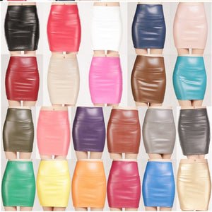 New 2019 summer women ladies faux pu leather candy color skirt high waist fleece warm sexy pencil mini Bodycon Stretchy Skirts