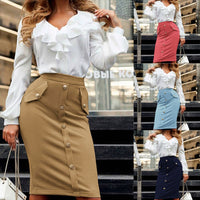 Sexy Multi Color Suede Midi Pencil Skirt Women 2018 Fashion Elastic High Waist