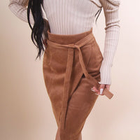 Women Bodycon Skirts Suede Fabric Solid Irregular Hem Slim Fit Skirt with Belt for Spring SSA-19ING