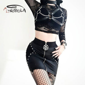 Leather Mini Skirt Rivet High Waist Skinny Bodycon