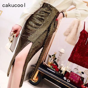 Cakucool Chic Gold Sequins Skirt High Waist Sashes High Slit Sexy Pencil Skirt Korean