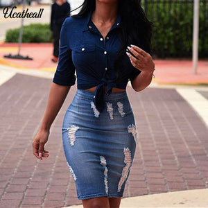 Ucatheall Pencil Skirt Blue Denim Women Sexy Casual Summer Skirts 2018 Fashion New Ripped pocket hip Bodycon Skirt