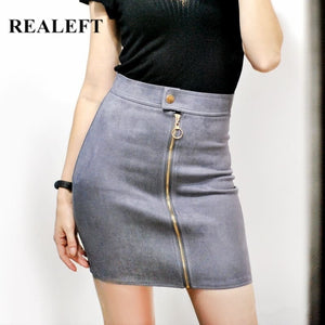 REALEFT 2019 Autumn New Arrival Women Suede Elegant Pencil Mini Skirts High Waist Empire Harajuku Sheath Sexy Wrap Skirts Womens