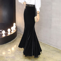 2019 S-5XL Plus Size Elegant Long Maxi Mermaid Skirts For Women High Waist Winter Black Velour Ruffles Bao Hip Pleuche Skirts