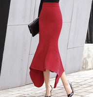 Plus Size 2XL High waist Skirt irregular office lady skirt elegant Flounce Mermaid skirt Package hip trumpet skirt